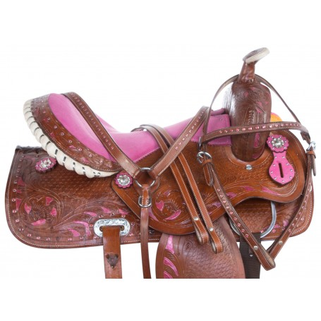 Pink Inlay Crystal Barrel Racing Western Horse Saddle 14 15 16 17