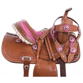Youth Kid Seat Pink Full Size Western Horse Saddle Leather Tack 12 13 14