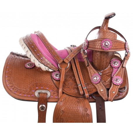 Youth Kid Seat Pink Full Size Western Horse Saddle Leather Tack 12 13