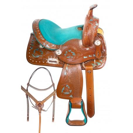 Turquoise Youth Kids Seat Western Horse Saddle 12 13