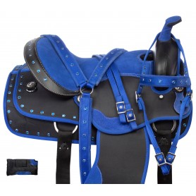Royal Blue Trail Synthetic Western Horse Saddle Tack 14 18