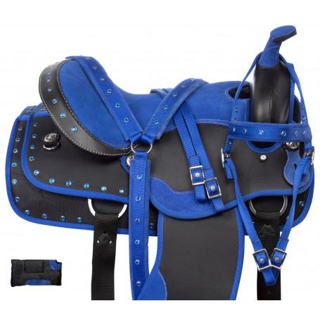 Royal Blue Trail Synthetic Western Horse Saddle Tack 14 18