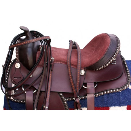 Beautiful Mahogany Pleasure Trail Saddle W Tack 17