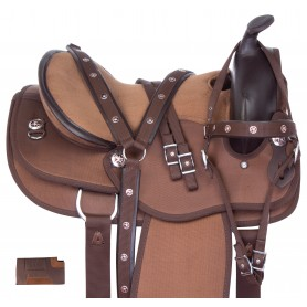 Brown Gaited Western Cordura Light Weight Trail Horse Saddle Tack Set
