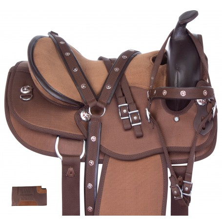 Brown Gaited Western Cordura Light Weight Trail Horse Saddle Tack Set