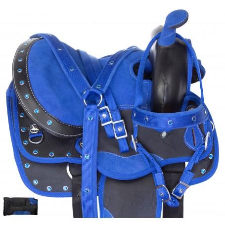 Blue Kids Barrel Racing Show Trail Western Mini Pony Synthetic Saddle Tack Set