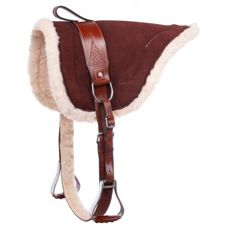 Brown Leather Bareback Treeless Pad With Stirrups Saddle