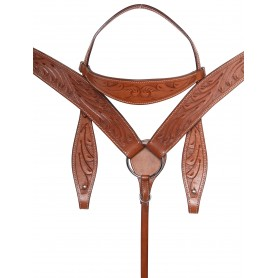 Beautiful Hand Carved Chestnut Western Leather Horse Tack Set Headstall Reins Breast Collar