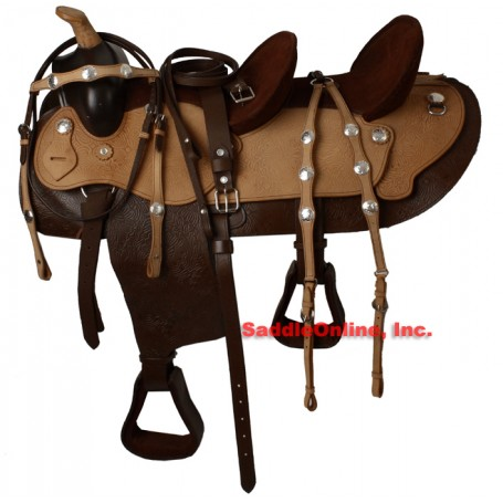 Two Tone Double Seat Western Trail Saddle W Tack Set