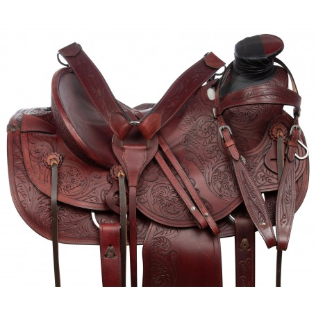 Rustic Mahogany Western A-Fork Wade Tree Roping Tooled Leather Horse Saddle Tack