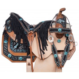 Fancy Western Barrel racing Turquoise Cross Show horse Saddle