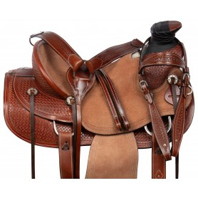 Classic Hard Seat Wade Tree Roping Western Leather Tooled Ranching Horse Saddle Tack Set