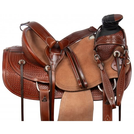 Classic Hard Seat Wade Tree Roping Western Leather Tooled Ranching Horse Saddle Tack Set