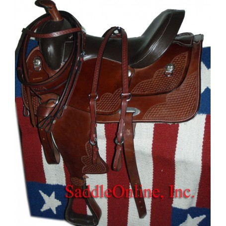 17 Dark Oil Slick Leather Seat Horse Saddle W Tack