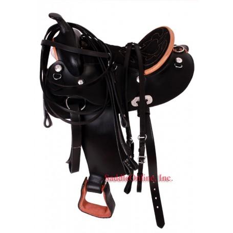 Black Suede Seat 14 Pony  Kids Saddle
