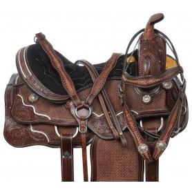 "Antique Show Barrel Western Pleasure Trail Leather Horse Saddle Tack 16"""