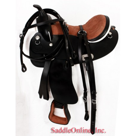 Black  Leather 14 Quarter Horse Saddle W  Tack