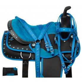Blue Crystal Western Show All Purpose Barrel Trail Synthetic Horse Saddle Tack 16""
