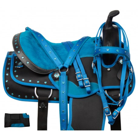"""Blue Crystal Western Show All Purpose Barrel Trail Synthetic Horse Saddle Tack 16"""""""