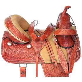 Western Treeless Hand Carved Premium Trail Show Leather Horse Saddle Tack