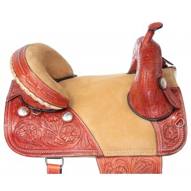 Draft Horse Western Treeless Extra Wide Premium Leather Saddle