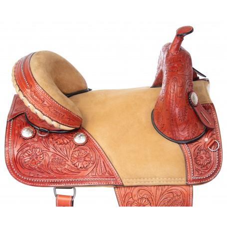 Draft Horse Western Treeless Extra Wide Premium Leather Saddle