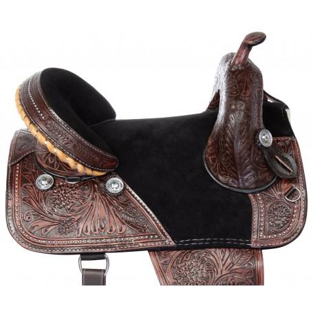 "16"" Western Draft Horse Treeless Saddle Leather Tooled Trail Show"