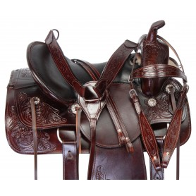 "16"" Comfy Premium Leather Horse Saddle Tack Western Trail Endurance Set"