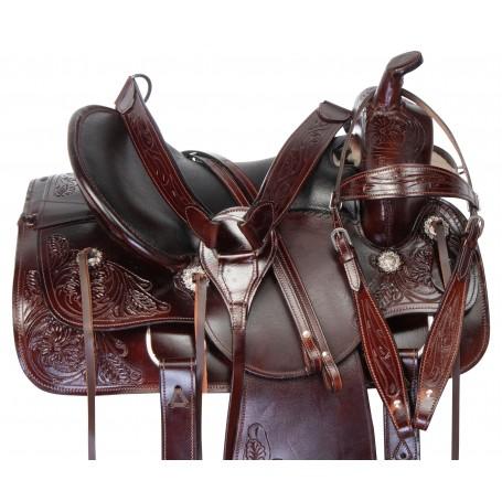 "16"" Comfy Premium Leather Horse Saddle Tack Western Trail Endurance Set"