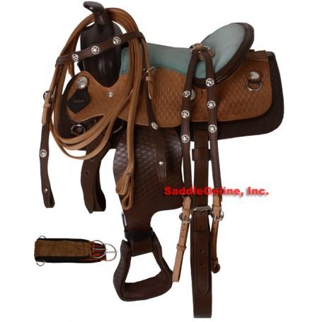 Green Seat Twon Tone Youth Trail Saddle W Tack 10