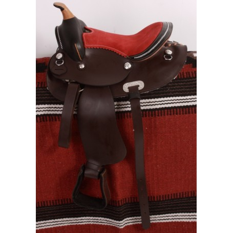 Kids Brown Youth Western Saddle 12 Red seat