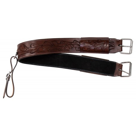 Brown Hand Carved Western Premium Leather Horse Saddle Back Cinch Flank Strap
