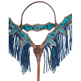 Blue Inlay Barrel Racing Western Show Leather Horse Tack Set