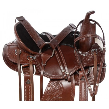 New Gaited Tree Comfy Western Trail Riding Leather Horse Saddle Tack Set