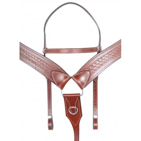 Western Leather Tack Set Headstall Reins Breast Collar Hand Carved Tooling