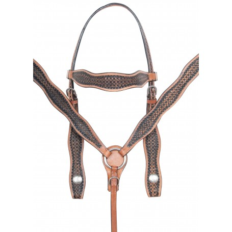 Antique Oil Hand Carved Western Leather Trail Horse Tack Set