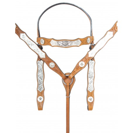 Chestnut Premium Tooled Western Silver Show Parade Leather Horse Tack Set