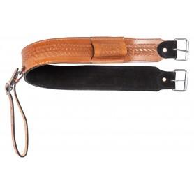 Tan Basket Weave Western Back Cinch Tooled Leather Premium Horse Saddle Bucking Strap