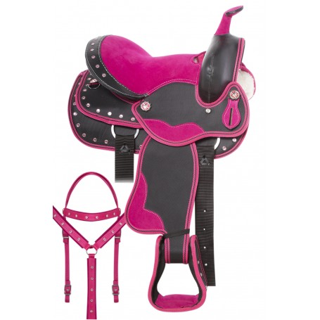Western Synthetic Pink Crystal Show Kids Youth Horse Saddle Tack 12