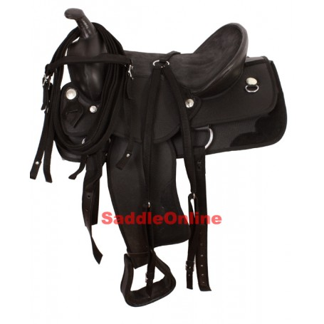 New 15 16 Beautiful Black Cordura Saddle W Tack