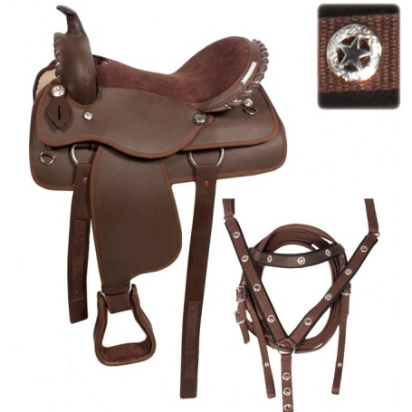 16 Beautiful Brown Western Synthetic Saddle Tack