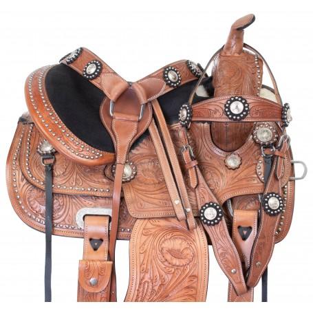 Kids Western Leather Tooled Barrel Racing Pleasure Trail Horse Saddle Tack