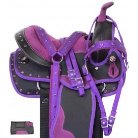 """Purple Synthetic Western Pony Youth Kids Saddle 10"""""""