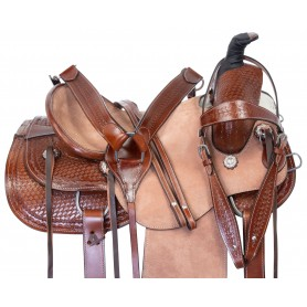 Hard Seat Western Team Roping Ranch Leather Tooled Horse Saddle Tack Set