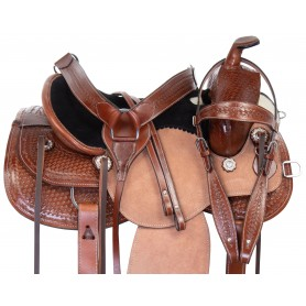 Western Ranching Comfy Trail Hand Carved Leather Horse Saddle Tack Set