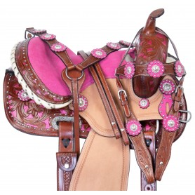 Premium Pink Show Western Barrel Racing Trail Leather Horse Saddle Tack Package