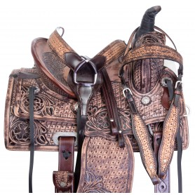 Youth Kids Antique Oil Hard Seat Western Roping Ranch Rodeo Leather Horse Saddle Tack Set