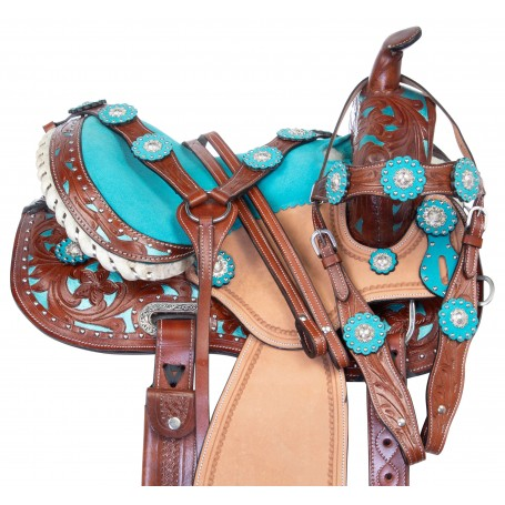 Beautiful Turquoise Inlay Kids Youth Western Leather Horse Saddle Tack Package