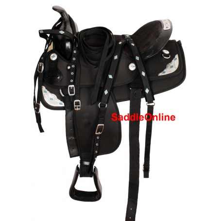 17 Black Light Weight Synthetic Saddle W Tack & Pad