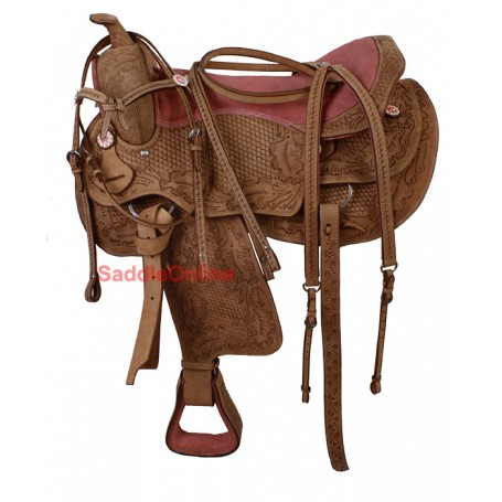 Premium Hand Carved Western Saddle Tack 16 17 18
